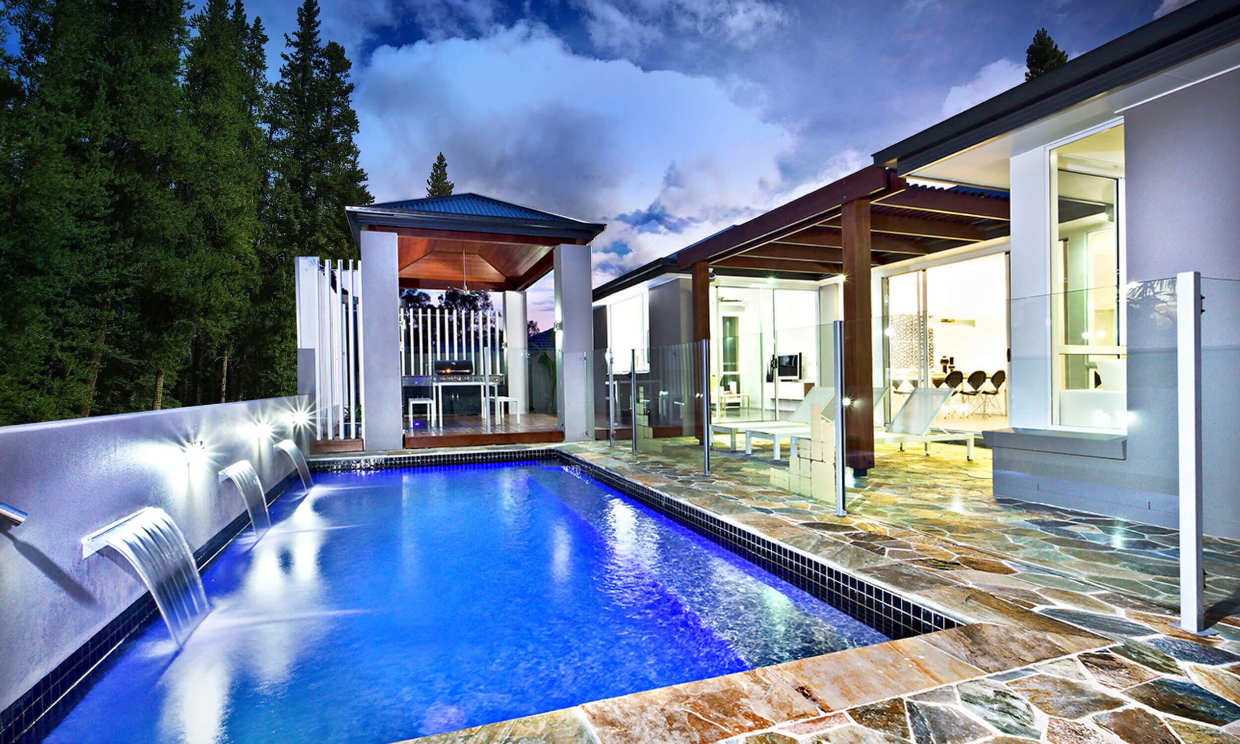 A beautiful, modern pool designed by Edgewater Pools.