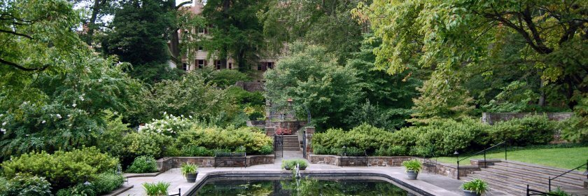 Winterthur, is the former country estate of Henry Francis du Pont (1880-1969) / The View of the House from the Reflecting Pool